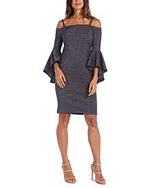 Petite Metallic Off-The-Shoulder Dress