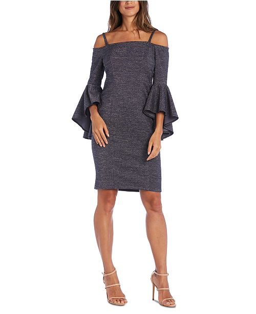 R & M Richards Petite Metallic Off-The-Shoulder Dress
