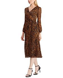 Lauren Ralph Lauren Ocelot-Print Georgette Dress, Created For Macy's