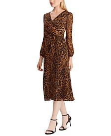 Lauren Ralph Lauren Ocelot-Print Georgette Dress, Created For Macy's