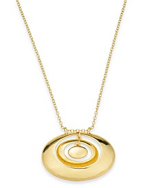 "Gold-Tone Orbital Circle Pendant Necklace, 32"" + 2"" extender, Created For Macy's"