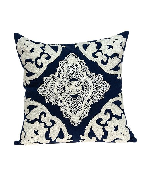 Parkland Collection Rani Traditional Blue Pillow Cover with Polyester Insert