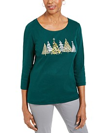 Cotton Winter Forest-Print T-Shirt, Created For Macy's