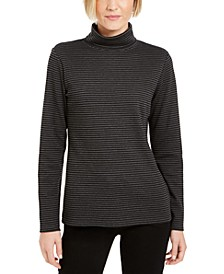 Petite Striped Turtleneck Top, Created For Macy's