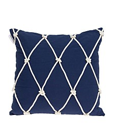 Parkland Collection Oceana Nautical Blue Pillow Cover With Down Insert
