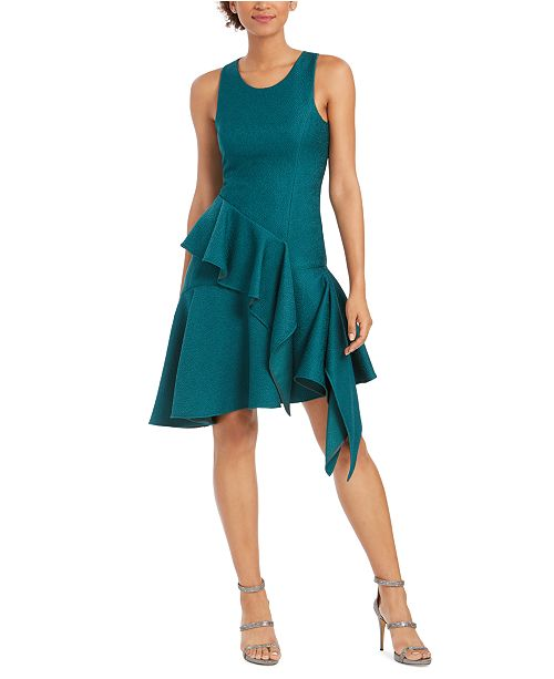 Natori Ruffled Asymmetrical A-Line Dress