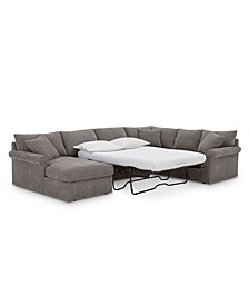 Wedport 3-Pc. Fabric Sofa Return Sleeper Sectional with Chaise, Created for Macy's
