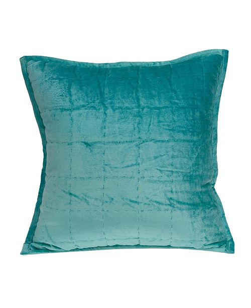 Parkland Collection Gorty Transitional Aqua Solid Quilted Pillow Cover with Polyester Insert
