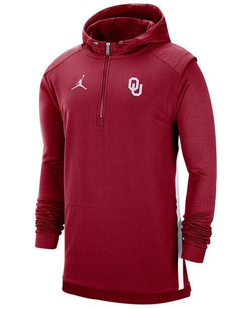 Jordan Men's Oklahoma Sooners Pregame Quarter-Zip Pullover