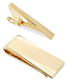 Men's Gold-Tone Tie Bar & Money Clip Set