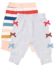 Baby Girl 2-Pack Pant In Rainbow Stripes and Bows