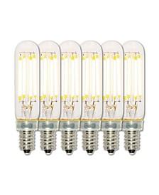 Lighting 4.5-Watt (40-Watt Equivalent) Clear T6 Dimmable Filament LED Light Bulb, Candelabra Base 6 Pack