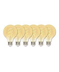 Lighting 5-Watt (25-Watt Equivalent) Amber G25 Dimmable Flexible Filament LED Light Bulb with Medium Base, Pack of 6