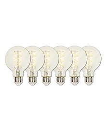 Lighting 5-Watt (25-Watt Equivalent) Clear G25 Dimmable Flexible Filament LED Light Bulb with Medium Base, Pack of 6