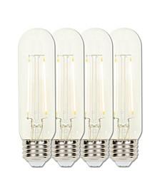 Lighting 3.5-Watt (60-Watt Equivalent) Clear T10 Dimmable Filament LED Light Bulb with Medium Base, Pack of 4