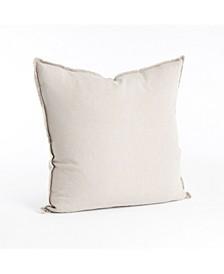 """Fringed Design Linen Throw Pillow, 20"""" x 20"""""""
