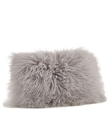 "Wool Mongolian Lamb Fur Throw Pillow, 12"" x 20"""