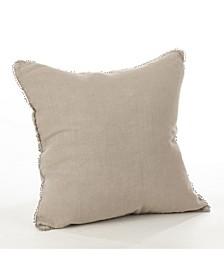 """Linen Pom Pom Trim Throw Pillow, 20"""" x 20"""""""