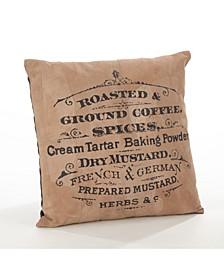 """retro Coffee Print Leather Throw Pillow, 16"""" x 16"""""""