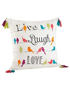 "Colorful Embroidered Tassel Trim Live Laugh Love Pillow, 18"" x 18"""