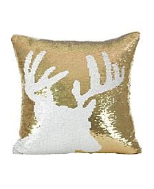 "Sequin Reindeer Design Holiday Throw Pillow, 16"" x 16"""