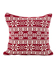 "Winter Snowflake Nordic Design Accent Cushion Polyester Filled Throw Pillow, 18"" x 18"""