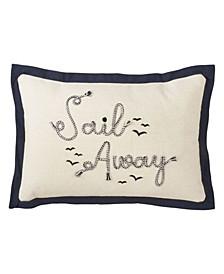 "Embroidered Sail Away Throw Pillow, 12"" x 18"""