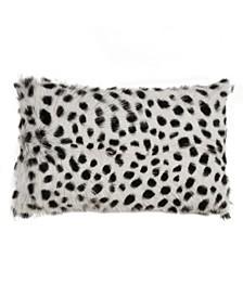 """Goat Fur Throw Pillow with Dalmatian Print, 12"""" x 20"""""""