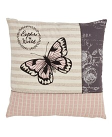 """Explore The World Butterfly Throw Pillow, 18"""" x 18"""""""