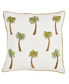 "Beaded Palm Trees Throw Pillow, 18"" x 18"""