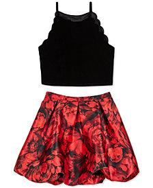 BCX Big Girls 2-Pc. Scalloped Velvet Top & Printed Bubble Skirt Set