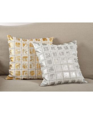 SARO LIFESTYLE Metallic Grid Fringe Design Cotton Down Filled Throw Pillow 18 x 18 Silver