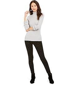 Ribbed Knit Turtleneck Sweater & Cheetah Flocked Leggings