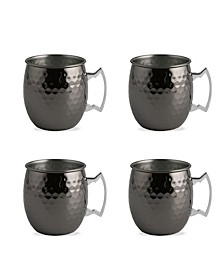 Faceted Metallic Black Moscow Mule Mugs - Set of 4