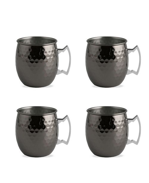 Thirstystone Faceted Metallic Black Moscow Mule Mugs - Set of 4