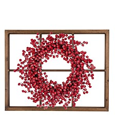 Wooden Window Frame with Berry Wreath
