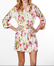 Plus Size Floral Ruffled Robe, Online Only