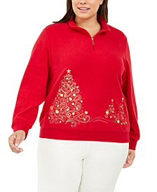 Plus Size Christmas Trees Half-Zip Top