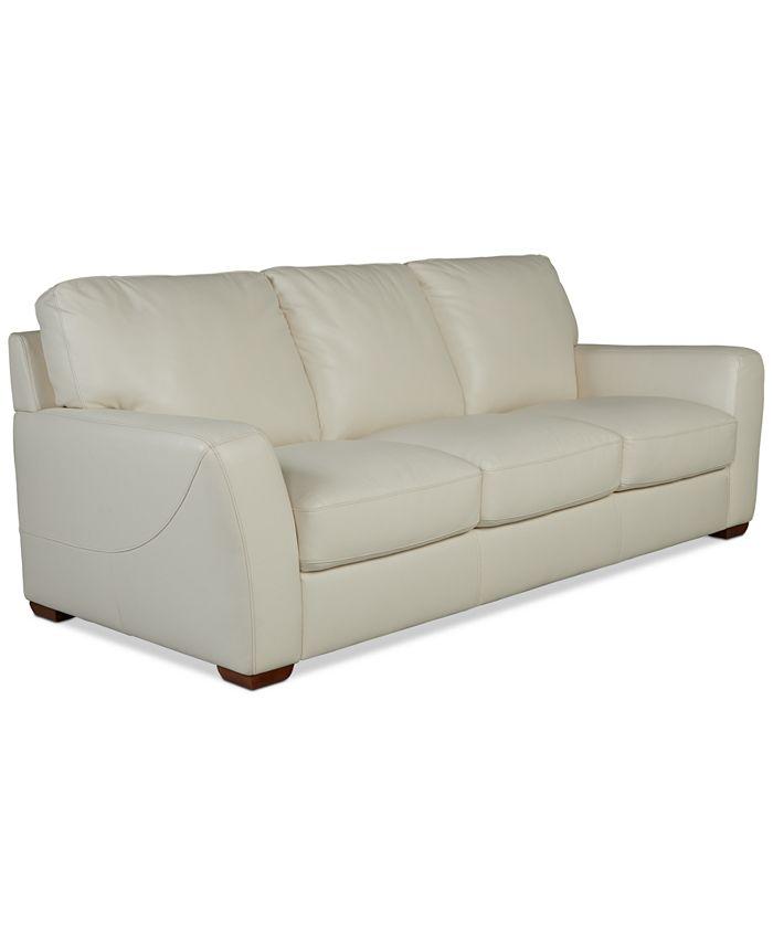 "Furniture - Jaspene 91"" Leather Sofa"