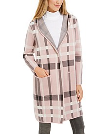 Petite Plaid Hooded Coat, Created For Macy's