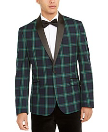 Men's Slim-Fit Stretch Green/Blue Plaid Dinner Jacket