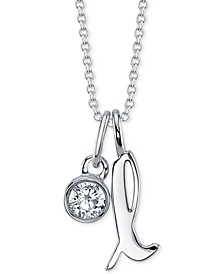 "Initial & Cubic Zirconia Silver-Plated Charm Pendant Necklace, 16"" + 2"" extender"