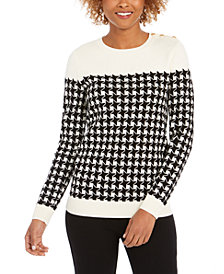 Charter Club Houndstooth Colorblocked Crewneck Sweater, Created For Macy's
