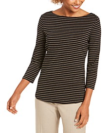 Metallic-Striped Boatneck Top, Created for Macy's