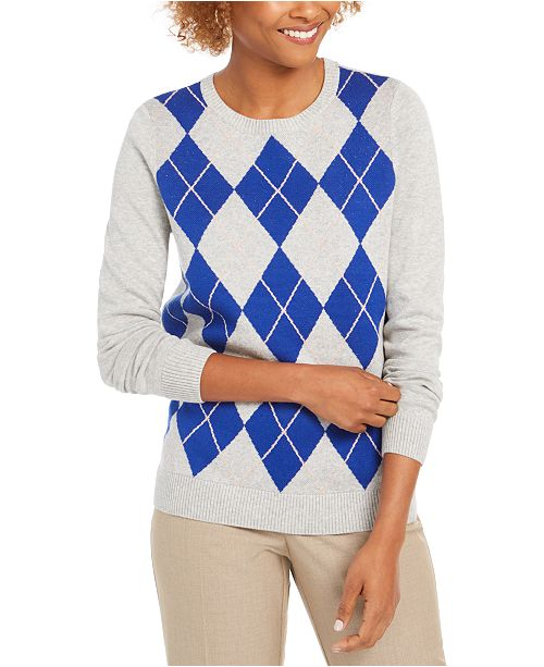 Charter Club Petite Argyle Sweater, Created For Macy's