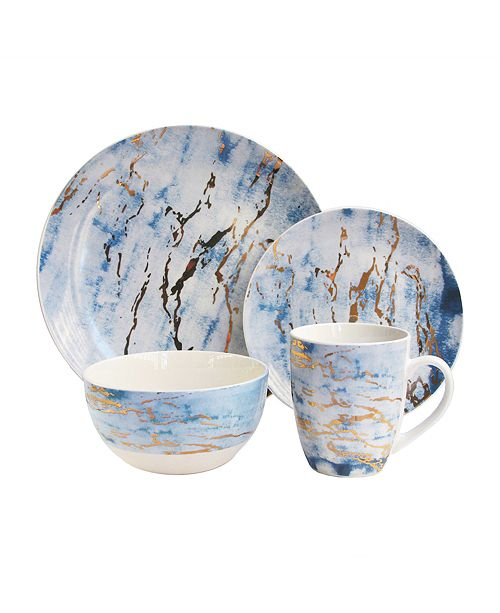 Jay Imports Marble Gold 16Pc Dinnerware Set
