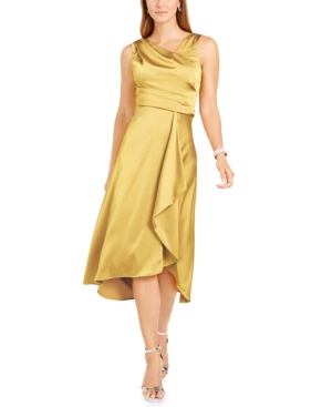 70s Prom, Formal, Evening, Party Dresses Taylor Draped Satin Midi Dress $49.99 AT vintagedancer.com