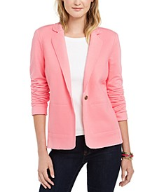 Single-Button Knit Blazer