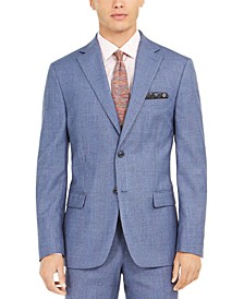 Orange Men's Slim-Fit Stretch Blue Plaid Suit Jacket