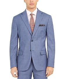 Tallia Orange Men's Slim-Fit Stretch Blue Plaid Suit Jacket
